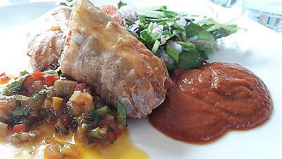 """Photo of Mitton Hall Hotel  by <a href=""""/members/profile/Veganolive1"""">Veganolive1</a> <br/>Moroccan chickpeas Wellington, tomato & saffron sauce & coriander relish <br/> July 26, 2017  - <a href='/contact/abuse/image/97216/285207'>Report</a>"""