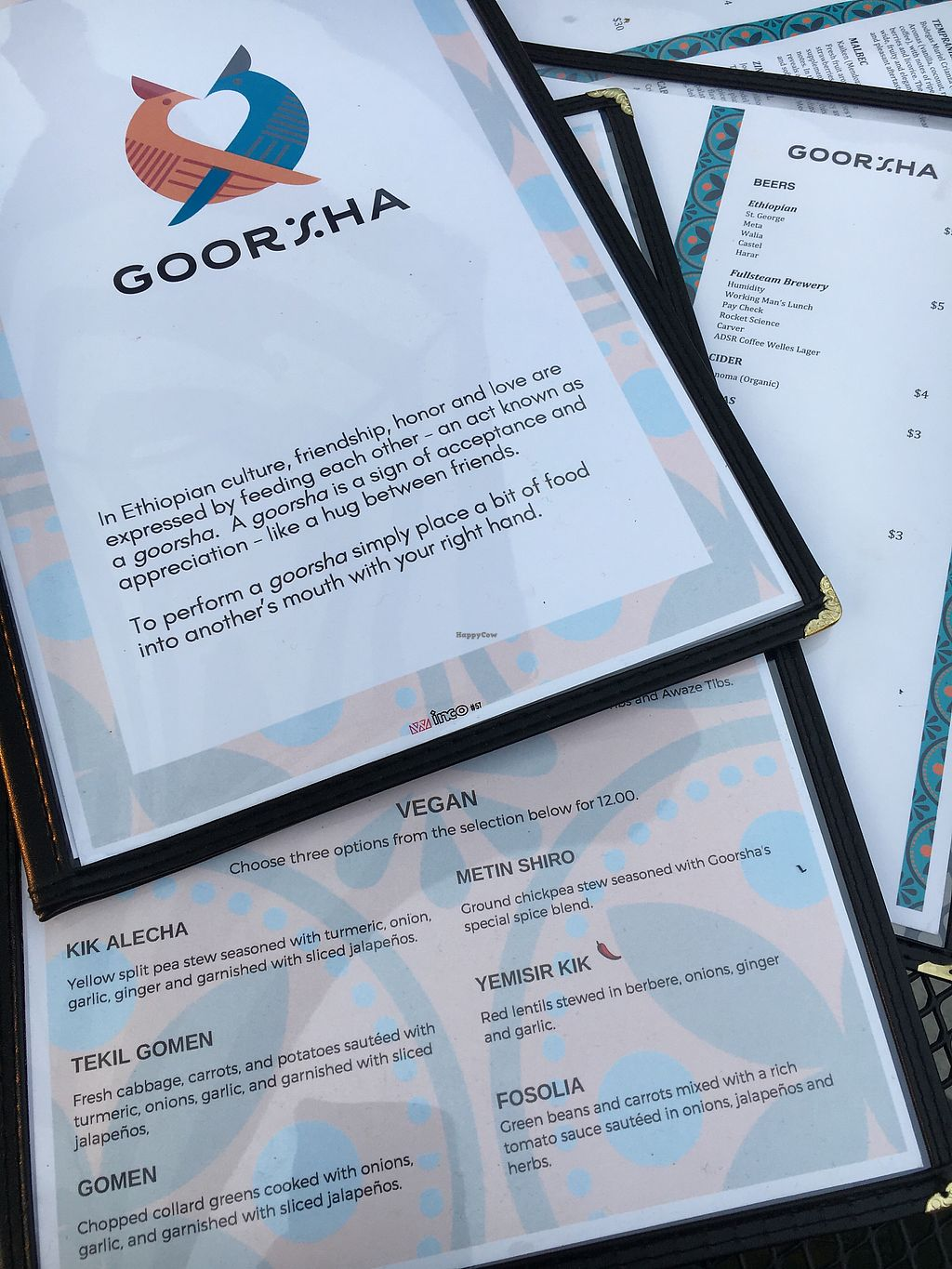 """Photo of Goorsha  by <a href=""""/members/profile/turtleveg"""">turtleveg</a> <br/>menu labels vegan options  <br/> August 4, 2017  - <a href='/contact/abuse/image/97231/288462'>Report</a>"""