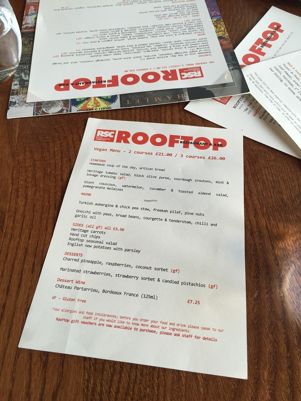 """Photo of Rooftop Restaurant and Bar - Royal Shakespeare Company  by <a href=""""/members/profile/healaing"""">healaing</a> <br/>Menu <br/> July 31, 2017  - <a href='/contact/abuse/image/97273/287030'>Report</a>"""