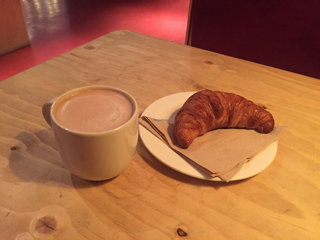 """Photo of Susie's Cafe Bar at The Other Place  by <a href=""""/members/profile/healaing"""">healaing</a> <br/>vegan croissant and hot chocolate <br/> July 31, 2017  - <a href='/contact/abuse/image/97274/287034'>Report</a>"""