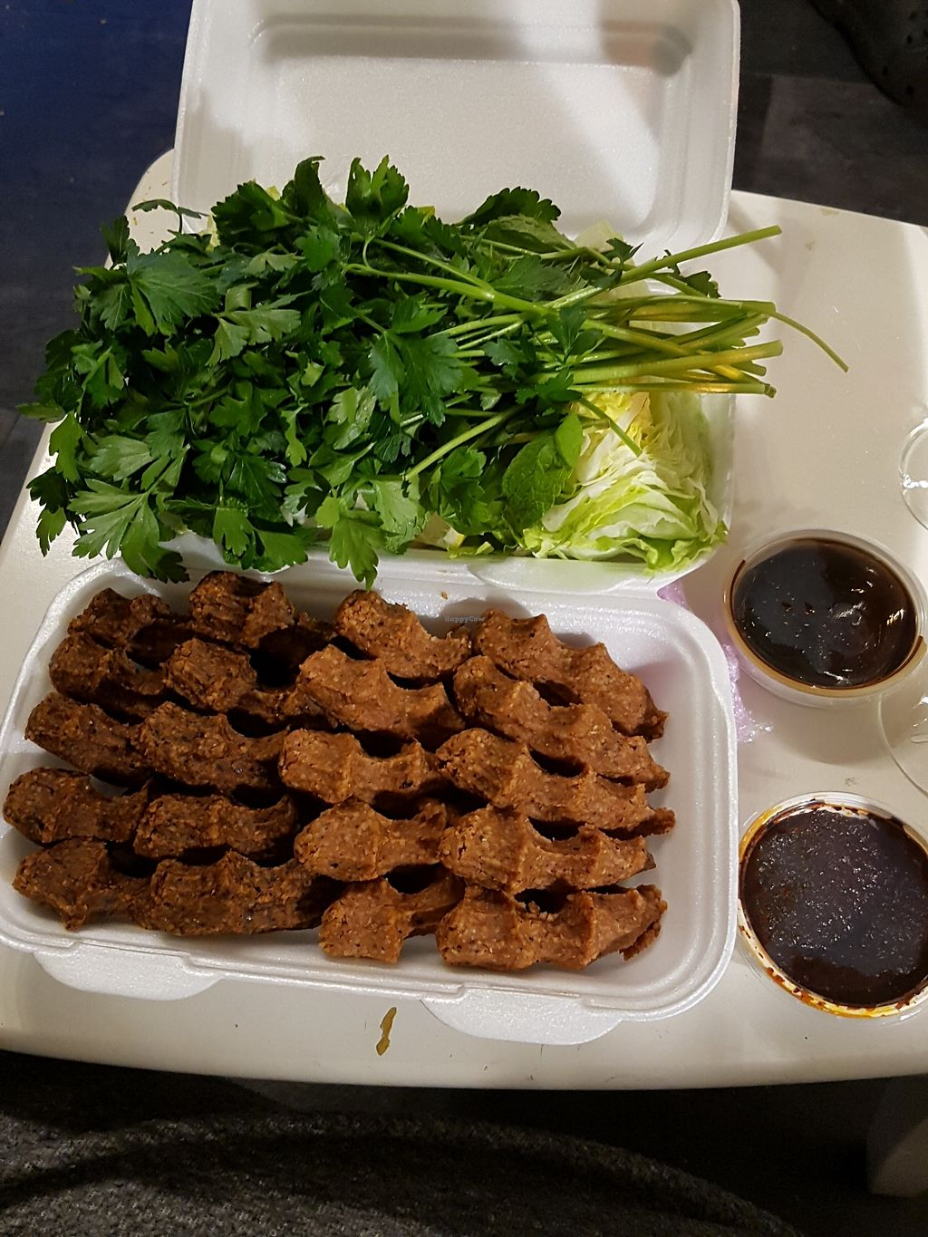 "Photo of My Cigköfte  by <a href=""/members/profile/Veganes_mutterherz"">Veganes_mutterherz</a> <br/>#vegan Cigköfte Take-Out <br/> November 2, 2017  - <a href='/contact/abuse/image/97308/321096'>Report</a>"