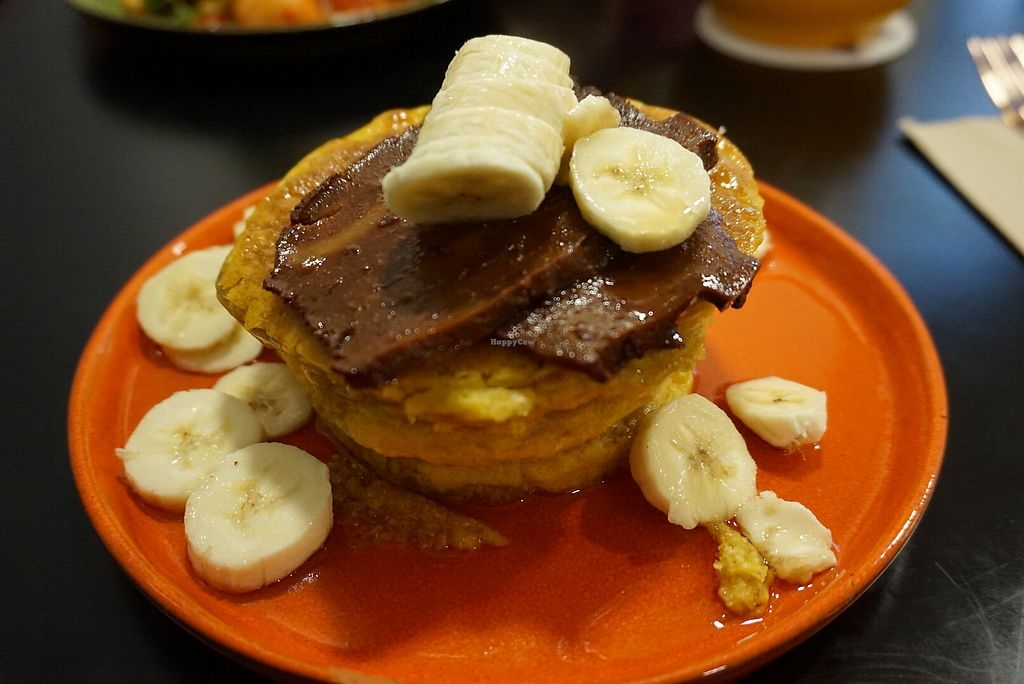 "Photo of The Herbivore Kitchen  by <a href=""/members/profile/angdep"">angdep</a> <br/>Bacon, maple syrup, banana, and pumpkin pancakes  <br/> January 16, 2018  - <a href='/contact/abuse/image/97309/347198'>Report</a>"