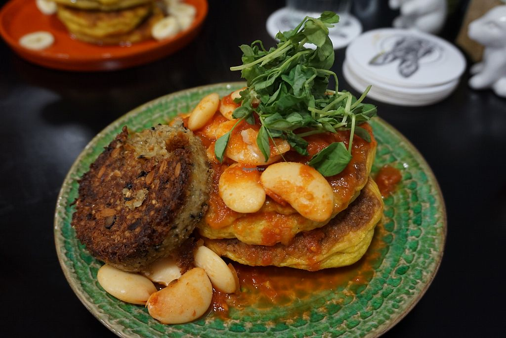 "Photo of The Herbivore Kitchen  by <a href=""/members/profile/angdep"">angdep</a> <br/>Haggis and baked bean pumpkin pancakes  <br/> January 16, 2018  - <a href='/contact/abuse/image/97309/347200'>Report</a>"