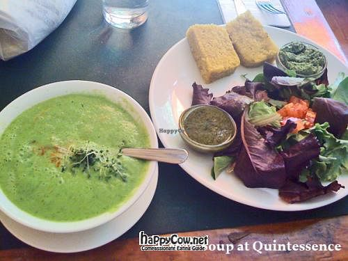 "Photo of Quintessence  by <a href=""/members/profile/zeebianco"">zeebianco</a> <br/>Green superfood soup with salad and raw 'bread'. Really rather delicious! <br/> August 3, 2012  - <a href='/contact/abuse/image/9731/35371'>Report</a>"
