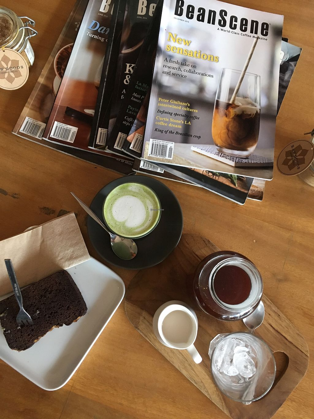 "Photo of The Silly Goat  by <a href=""/members/profile/jojoinbrighton"">jojoinbrighton</a> <br/>MAtcha latte, cold brew, chocolate banana slice <br/> August 14, 2017  - <a href='/contact/abuse/image/97332/292756'>Report</a>"