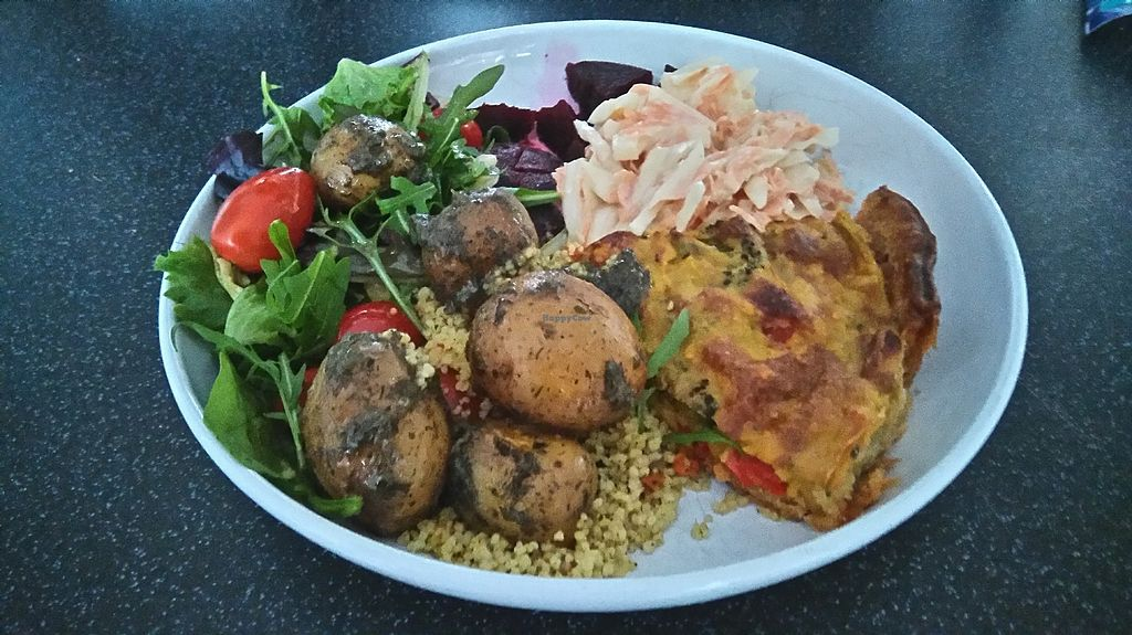 """Photo of Nicky's Totally Vegan  by <a href=""""/members/profile/NickyAnneHolland"""">NickyAnneHolland</a> <br/>Quiche, salad and coleslaw all homemade by Nicky from Totallyvegancoventry.  <br/> July 29, 2017  - <a href='/contact/abuse/image/97342/286438'>Report</a>"""