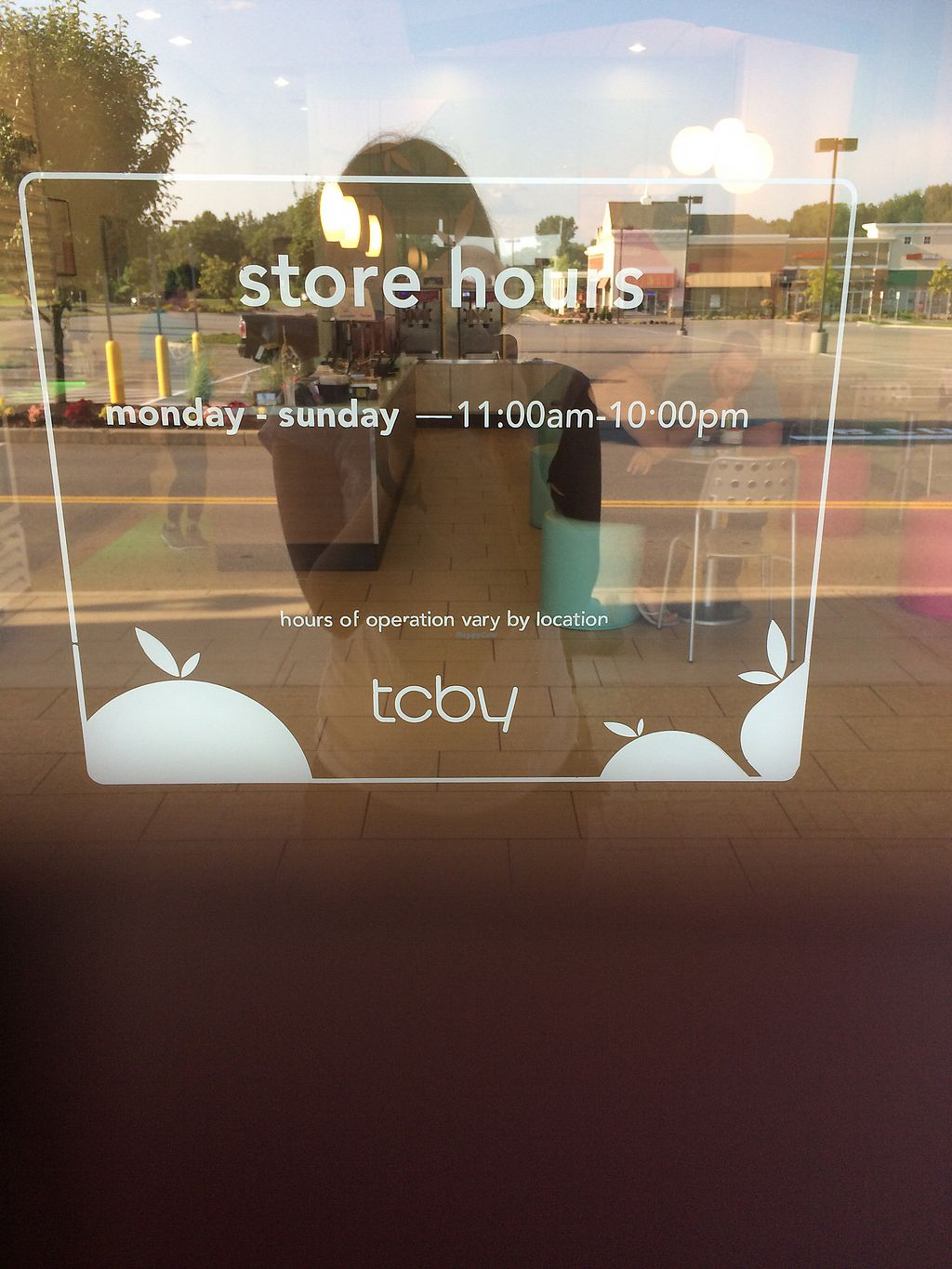 """Photo of CLOSED: TCBY  by <a href=""""/members/profile/fruitiJulie"""">fruitiJulie</a> <br/>store hours on window <br/> July 30, 2017  - <a href='/contact/abuse/image/97381/286867'>Report</a>"""