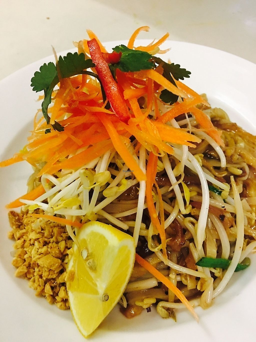 "Photo of Ummarin Thai  by <a href=""/members/profile/durianroll"">durianroll</a> <br/>Vegan Pad Thai with Vegan Mock Chicken <br/> December 25, 2017  - <a href='/contact/abuse/image/97390/338928'>Report</a>"