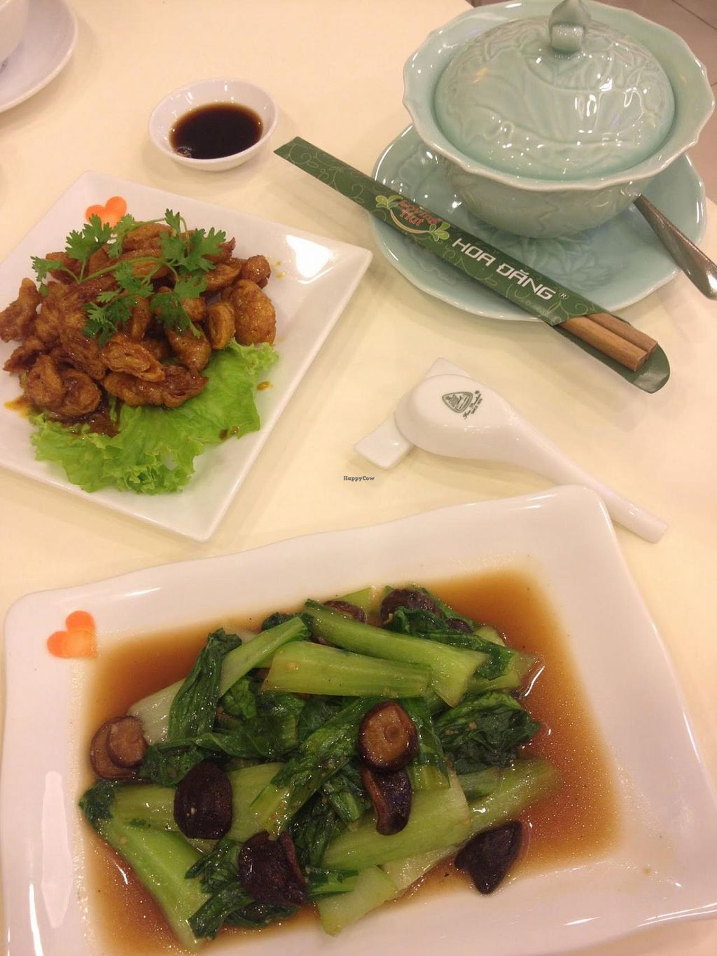 """Photo of Loving Hut Hoa Dang  by <a href=""""/members/profile/jojoinbrighton"""">jojoinbrighton</a> <br/>Gluten in coconut water (sounds weird, tastes delicious) and pak choi with black mushrooms <br/> May 3, 2015  - <a href='/contact/abuse/image/9742/101057'>Report</a>"""