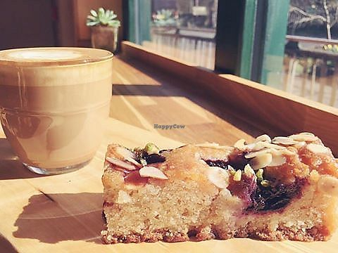 """Photo of The Green Wood Café  by <a href=""""/members/profile/community5"""">community5</a> <br/>Vegan Dark Cherry and Almond Cake <br/> August 1, 2017  - <a href='/contact/abuse/image/97618/287559'>Report</a>"""