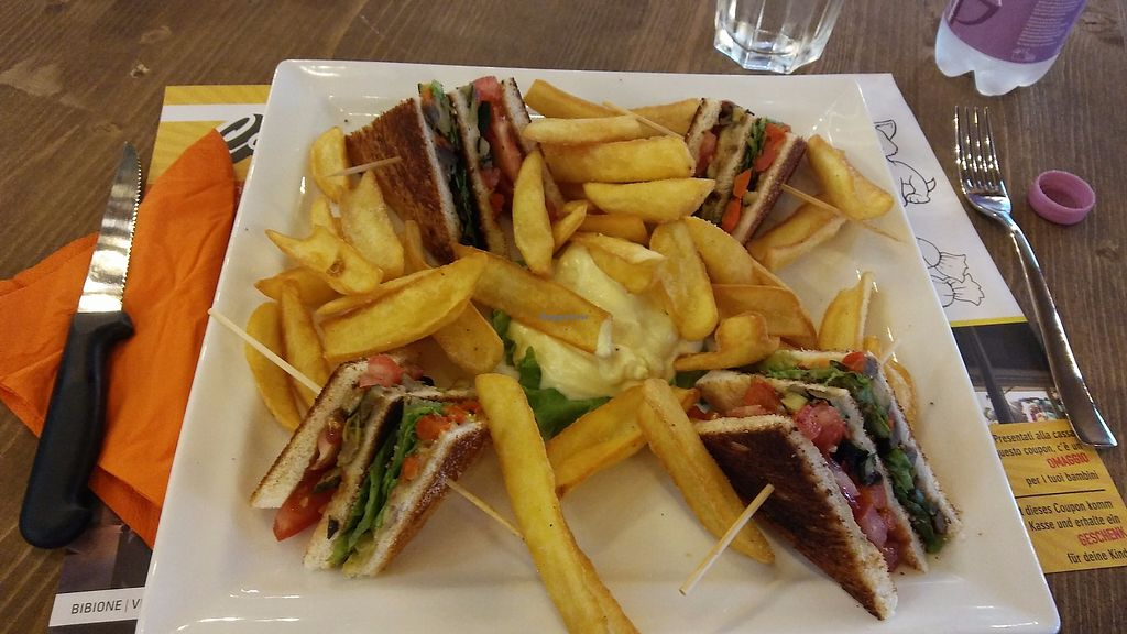 """Photo of Cortina Pub  by <a href=""""/members/profile/graz.vegan"""">graz.vegan</a> <br/>Vegan Sandwich with Fries <br/> September 4, 2017  - <a href='/contact/abuse/image/97638/300731'>Report</a>"""