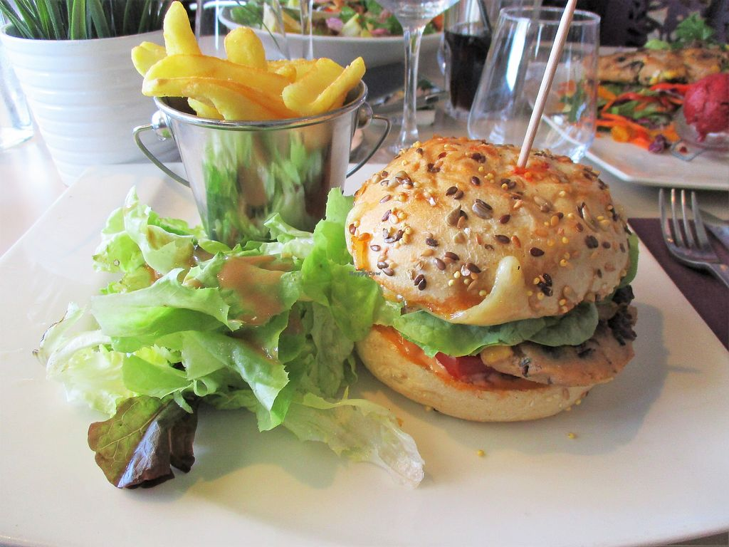 "Photo of La Plage de Monsieur Hulot  by <a href=""/members/profile/ConnieB"">ConnieB</a> <br/>Veggie burger (you can see the vegan salad on the right) <br/> August 5, 2017  - <a href='/contact/abuse/image/97655/289426'>Report</a>"