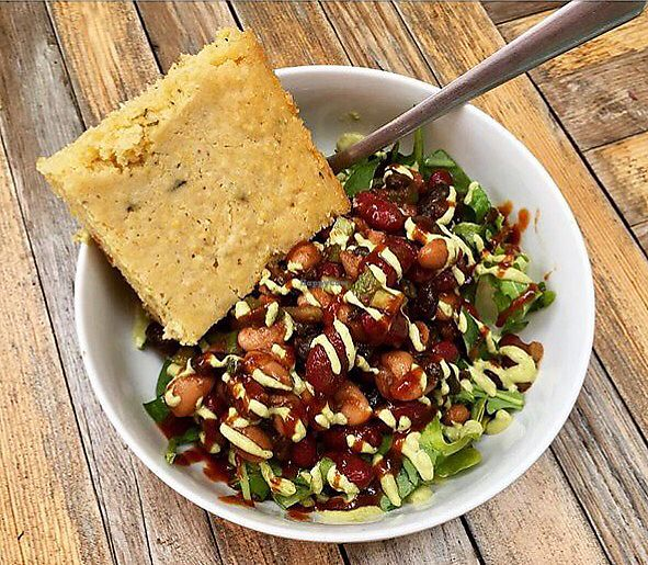 """Photo of Anaya Coffee  by <a href=""""/members/profile/clovely.vegan"""">clovely.vegan</a> <br/>Cowboy BBQ bean salad w/ herbed cornbread <br/> August 3, 2017  - <a href='/contact/abuse/image/97699/288222'>Report</a>"""