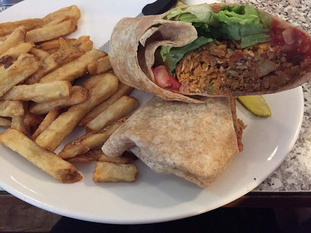"""Photo of Johns Place  by <a href=""""/members/profile/VeggieFromSpace"""">VeggieFromSpace</a> <br/>Spocks vegan wrap <br/> August 4, 2017  - <a href='/contact/abuse/image/97707/288681'>Report</a>"""