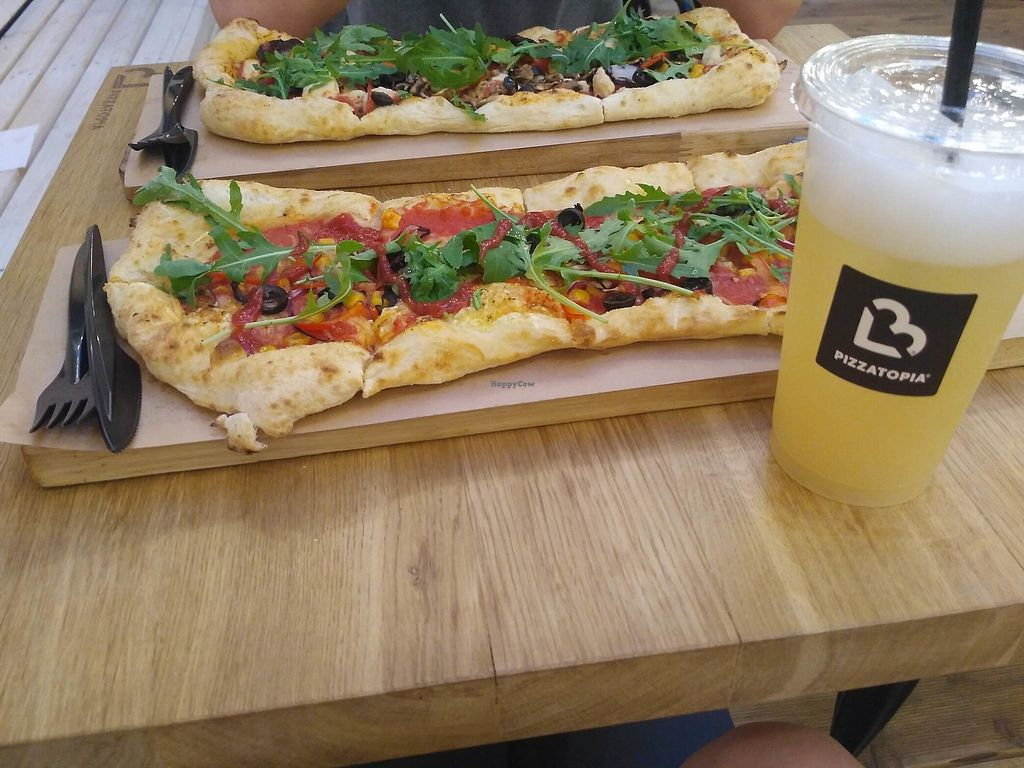 """Photo of Pizzatopia  by <a href=""""/members/profile/aga.mika"""">aga.mika</a> <br/>Pizza with vegan mozarella and lemonade <br/> August 3, 2017  - <a href='/contact/abuse/image/97708/288167'>Report</a>"""