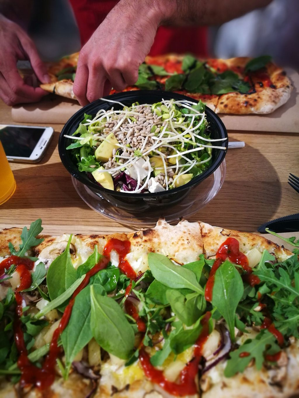 """Photo of Pizzatopia  by <a href=""""/members/profile/k-girl80"""">k-girl80</a> <br/>two vegan pizzas and a salad to balance out the carbs <br/> October 12, 2017  - <a href='/contact/abuse/image/97708/314524'>Report</a>"""