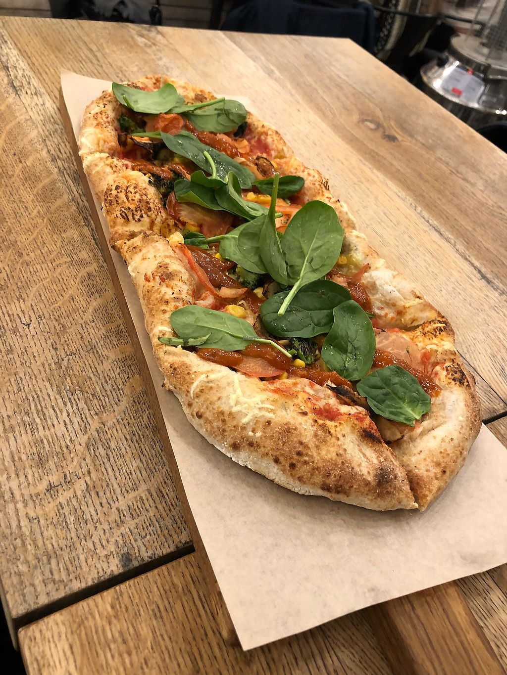 """Photo of Pizzatopia  by <a href=""""/members/profile/ffion"""">ffion</a> <br/>Whole meal dough with v-cheese, tomatoes, sweetcorn, broccoli and fresh spinach  <br/> March 13, 2018  - <a href='/contact/abuse/image/97708/370328'>Report</a>"""