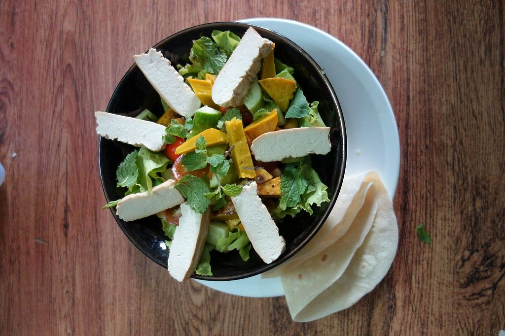 """Photo of Chenda's Bistro  by <a href=""""/members/profile/community5"""">community5</a> <br/>Roasted pumpkin salad with flatbread and topped with smoked tofu <br/> August 4, 2017  - <a href='/contact/abuse/image/97710/288655'>Report</a>"""