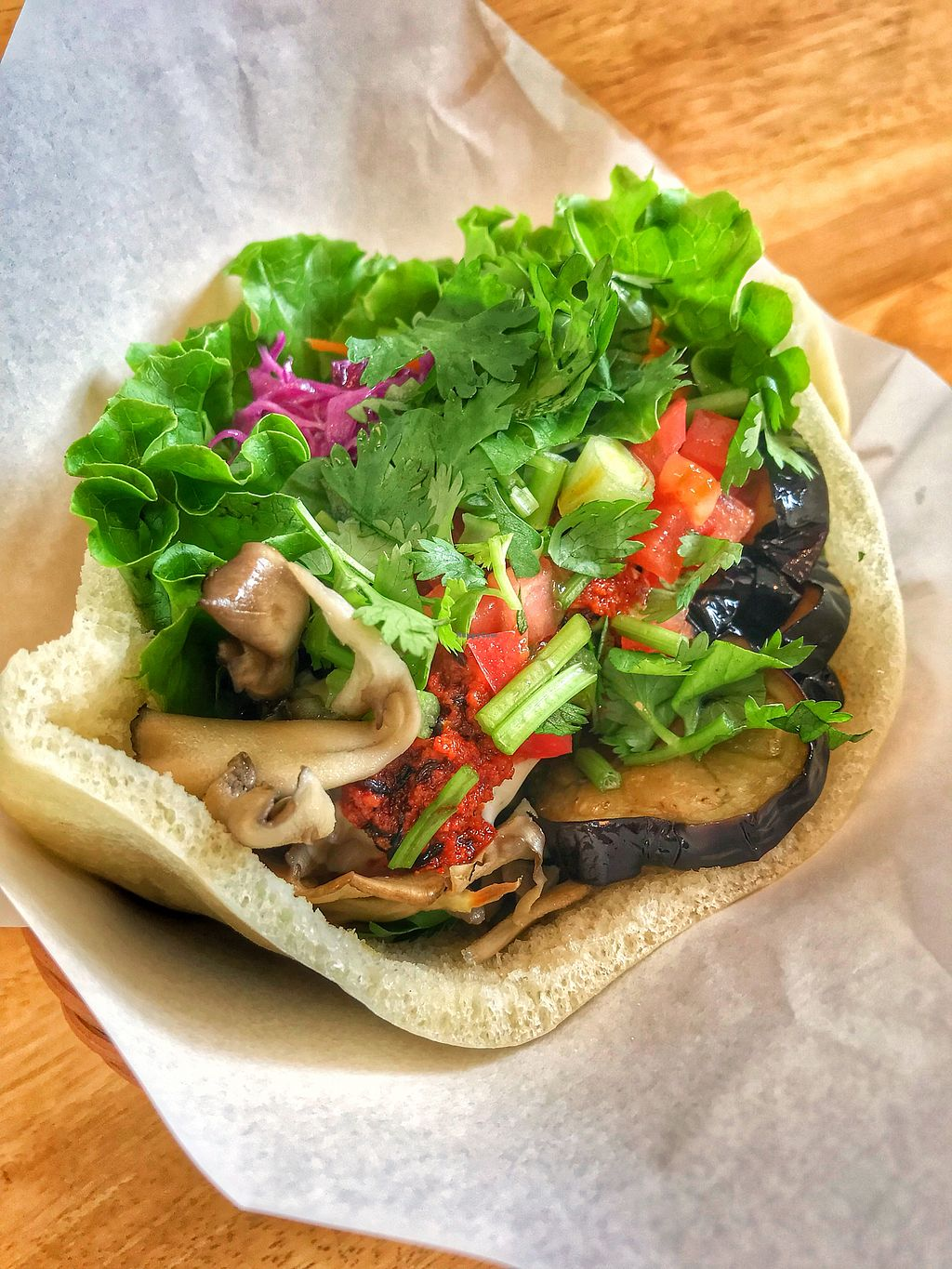 """Photo of Ballon  by <a href=""""/members/profile/EriJimbo"""">EriJimbo</a> <br/>Falafel sandwich w/cilantro topping <br/> October 20, 2017  - <a href='/contact/abuse/image/97750/316974'>Report</a>"""