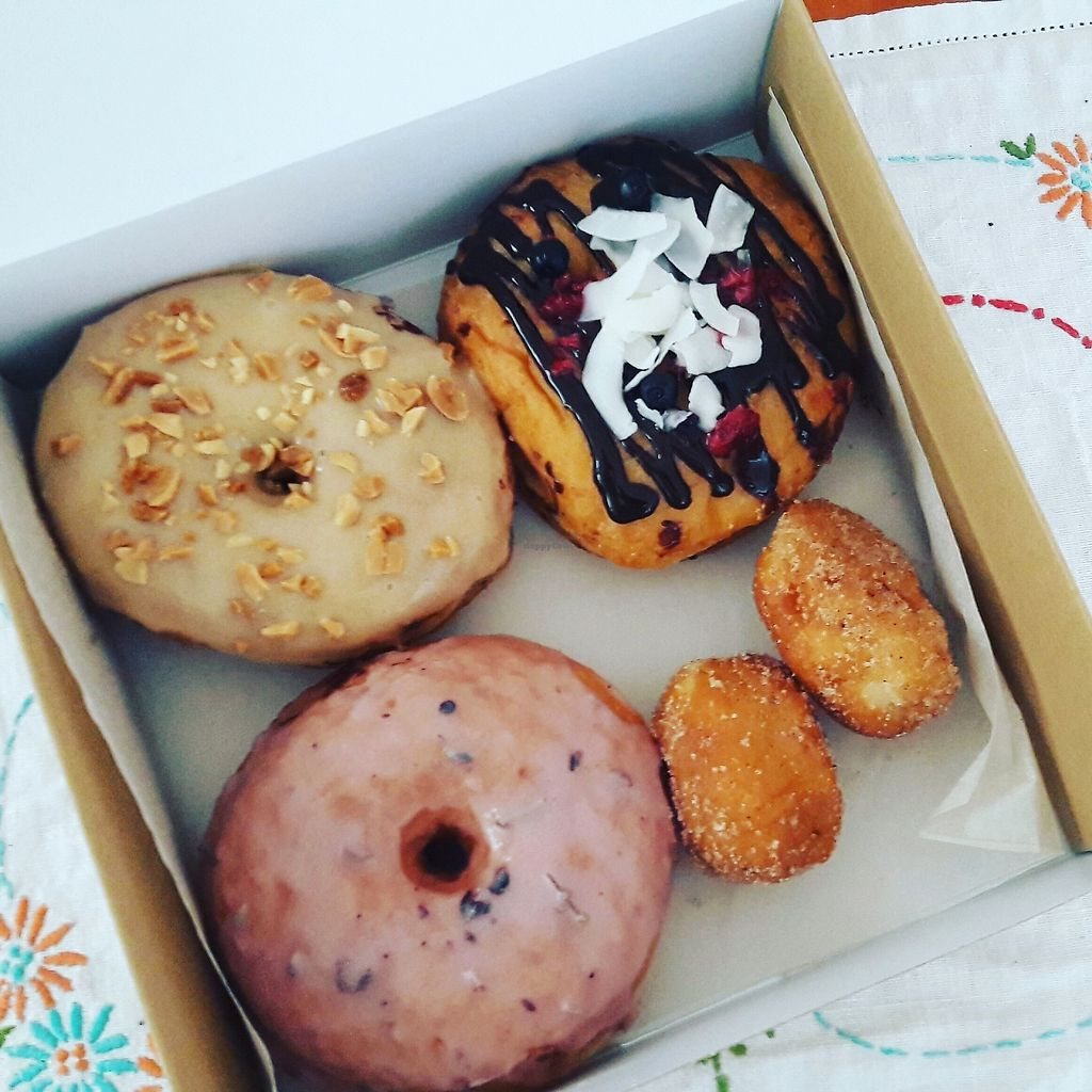 """Photo of Donut Shop  by <a href=""""/members/profile/jennyc32"""">jennyc32</a> <br/>Vegan donuts: lavender, peanut butter, filled with raspberry and blueberry jam, cinnamon balls <br/> August 5, 2017  - <a href='/contact/abuse/image/97758/289107'>Report</a>"""