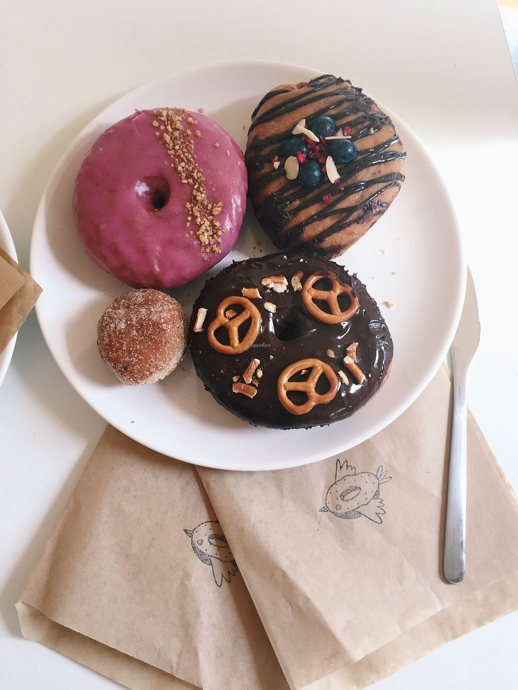 """Photo of Donut Shop  by <a href=""""/members/profile/OliviaFloyd"""">OliviaFloyd</a> <br/>Chai and walnut, chocolate and berries, chocolate pretzel and a cinnamon ball <br/> April 13, 2018  - <a href='/contact/abuse/image/97758/385015'>Report</a>"""