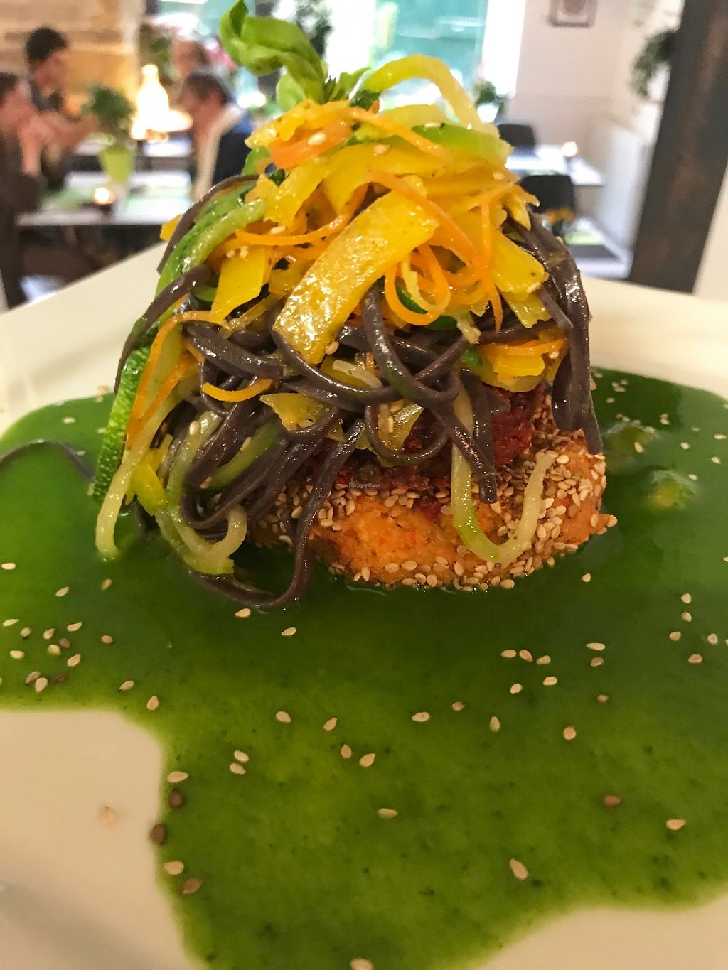 "Photo of Annadata  by <a href=""/members/profile/MyriamDomange"">MyriamDomange</a> <br/>Tofu capsicum burger with vegetable spaghetti, parsley sauce :-) <br/> August 5, 2017  - <a href='/contact/abuse/image/97804/288936'>Report</a>"