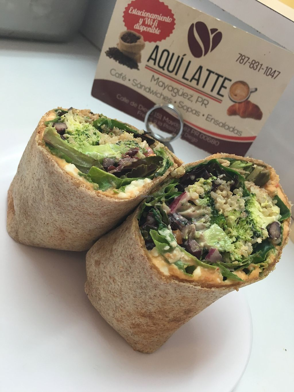 """Photo of Aqui Latte  by <a href=""""/members/profile/javierivan"""">javierivan</a> <br/>Mix veggie wrap: homMeade hummus, broccoli slaw, quinoa salad mix greens and beans ceviche <br/> January 9, 2018  - <a href='/contact/abuse/image/97816/344762'>Report</a>"""