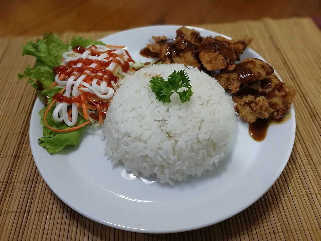 """Photo of Pranita Rasa Vegetarian  by <a href=""""/members/profile/HorichAlexandre"""">HorichAlexandre</a> <br/>fried chickenless with bbq sauce and rice <br/> August 18, 2017  - <a href='/contact/abuse/image/97821/293880'>Report</a>"""