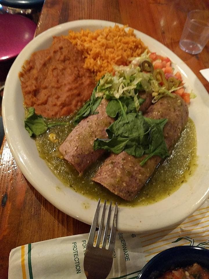 """Photo of Chuy's  by <a href=""""/members/profile/ChristineLee"""">ChristineLee</a> <br/>Veggie enchiladas (no cheese) with tomatillo sauce <br/> August 4, 2017  - <a href='/contact/abuse/image/97829/288472'>Report</a>"""