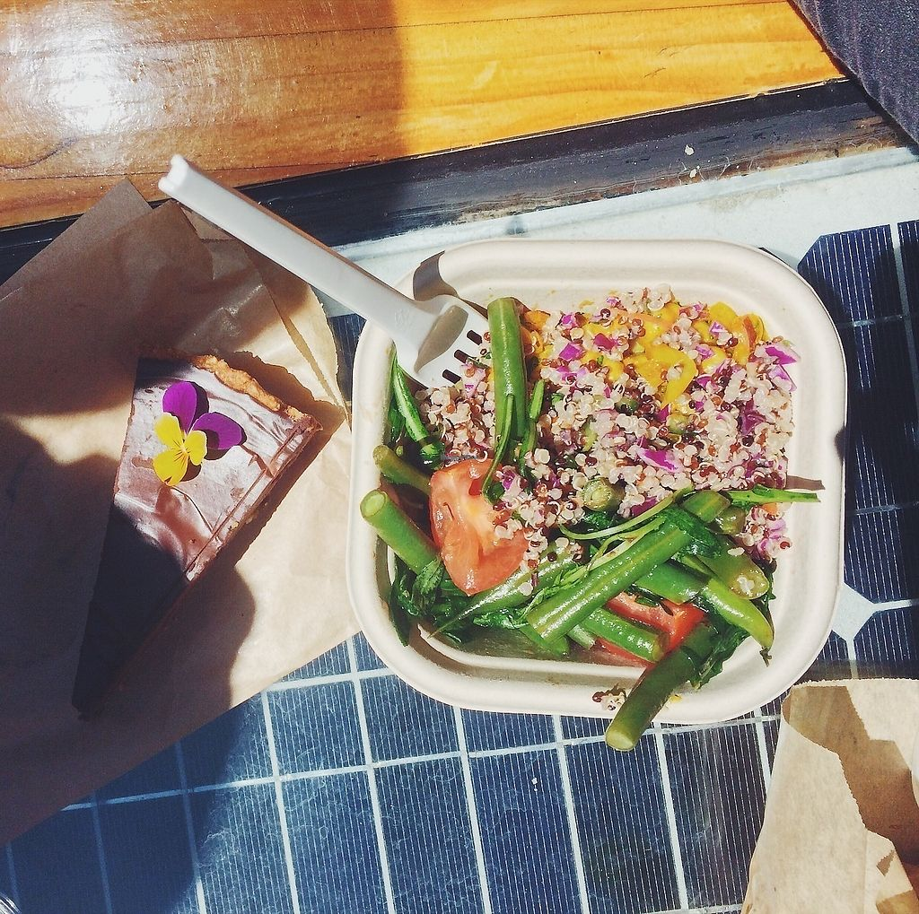 """Photo of Sustain Vegetarian Takeaways  by <a href=""""/members/profile/jenny_noisy"""">jenny_noisy</a> <br/>Amazing raw cheesecake + medium salad <br/> November 18, 2017  - <a href='/contact/abuse/image/97838/326840'>Report</a>"""