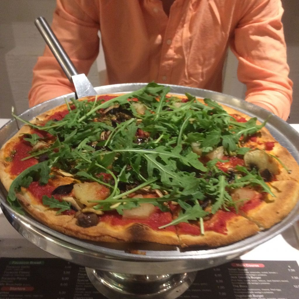 """Photo of Antonio Pizza & Pasta  by <a href=""""/members/profile/audmarlen"""">audmarlen</a> <br/>Pizza with rocket, pineapple, mushroom, olives and pesto instead of cheese. Super moist and delicious! <br/> August 5, 2017  - <a href='/contact/abuse/image/97845/289049'>Report</a>"""