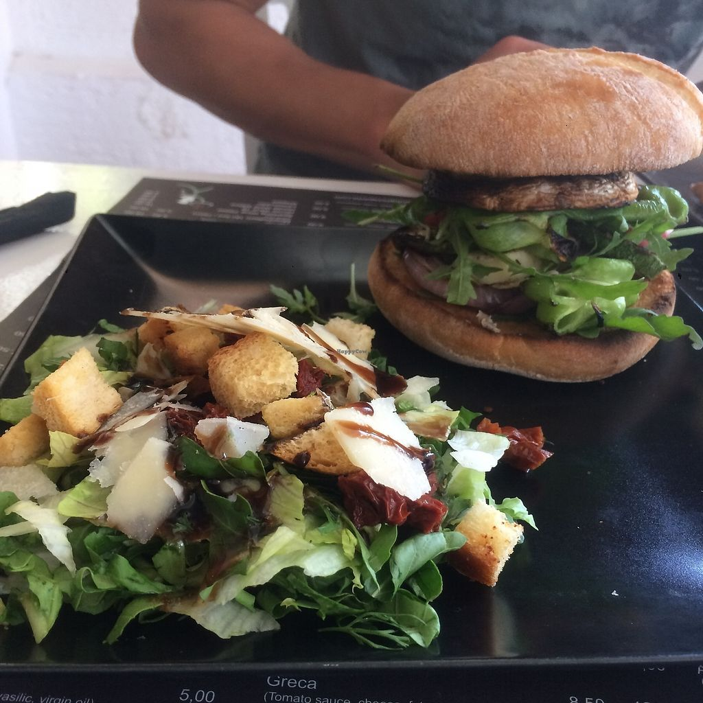 """Photo of Antonio Pizza & Pasta  by <a href=""""/members/profile/audmarlen"""">audmarlen</a> <br/>Vegetarian halloumi burger with mushroom, zucchini, onion and salad. Salad with sundried tomatoes, crutons, parmesan etc <br/> August 5, 2017  - <a href='/contact/abuse/image/97845/289058'>Report</a>"""