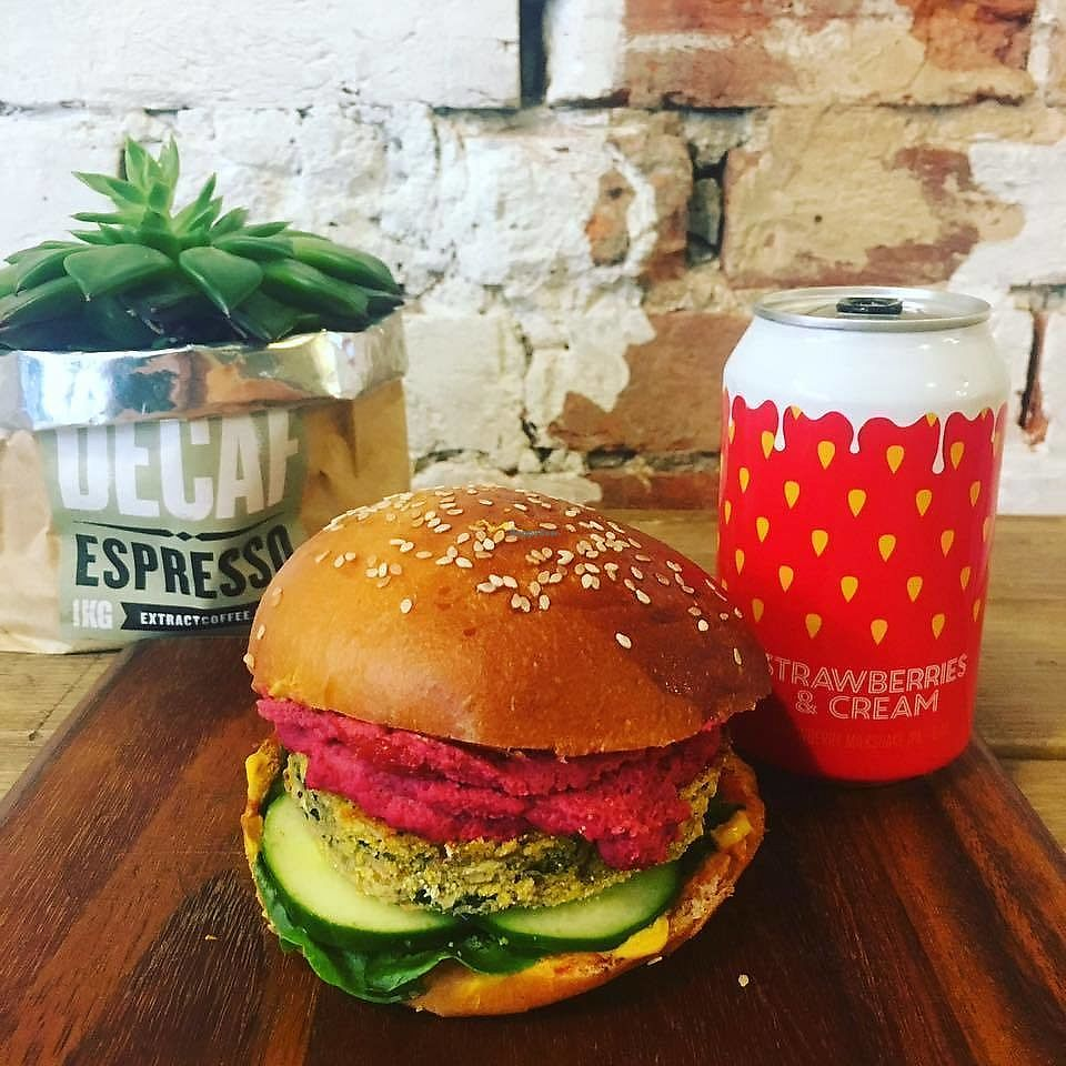 """Photo of Bun + Bean  by <a href=""""/members/profile/community5"""">community5</a> <br/>Courgette basil and cannellini bean burger with beetroot hummus topping <br/> August 4, 2017  - <a href='/contact/abuse/image/97856/288669'>Report</a>"""