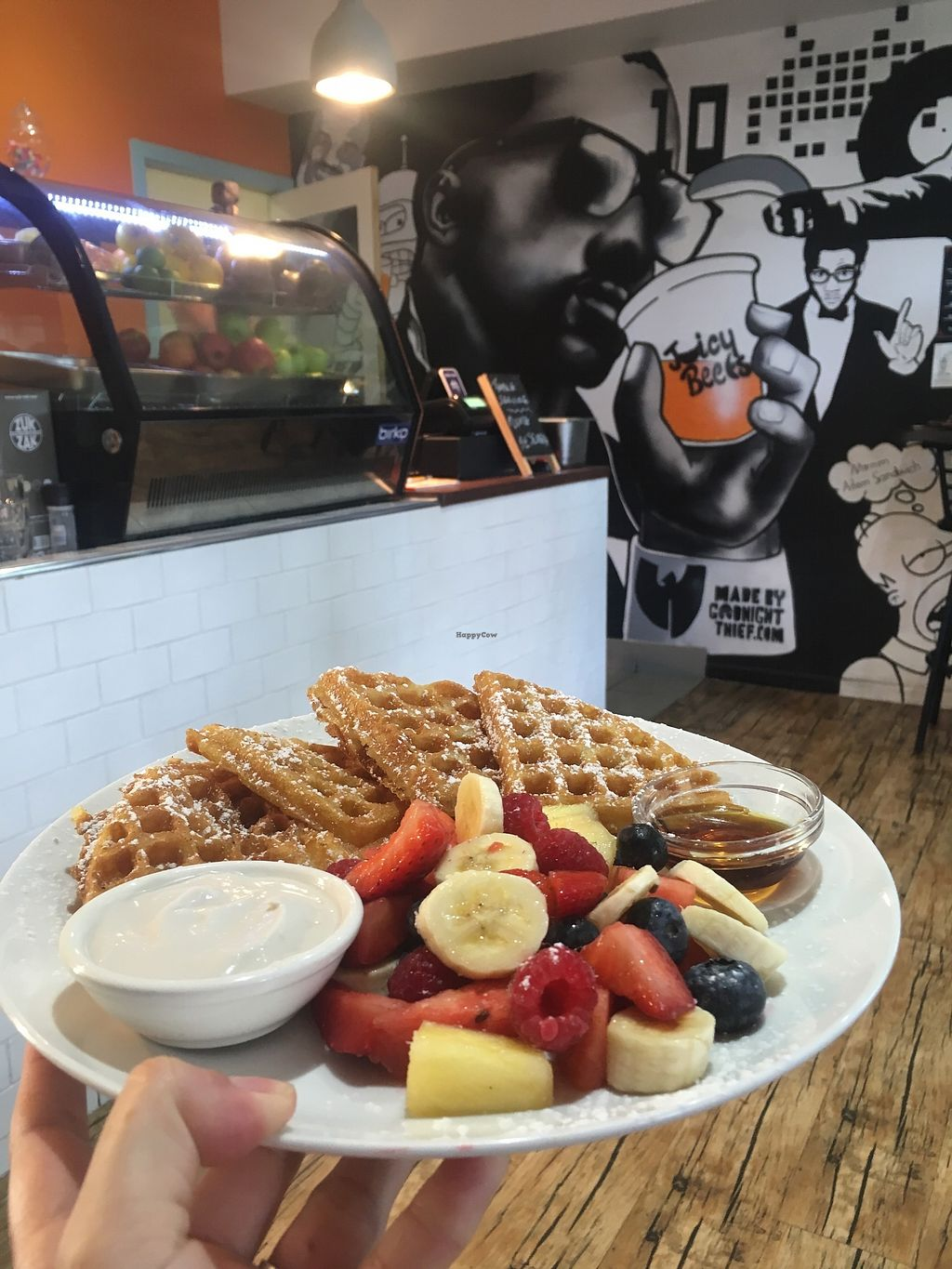 """Photo of Waffle on Cairns  by <a href=""""/members/profile/jojoinbrighton"""">jojoinbrighton</a> <br/>Waffles with fruit, syrup, and coconut cream <br/> August 5, 2017  - <a href='/contact/abuse/image/97907/288942'>Report</a>"""