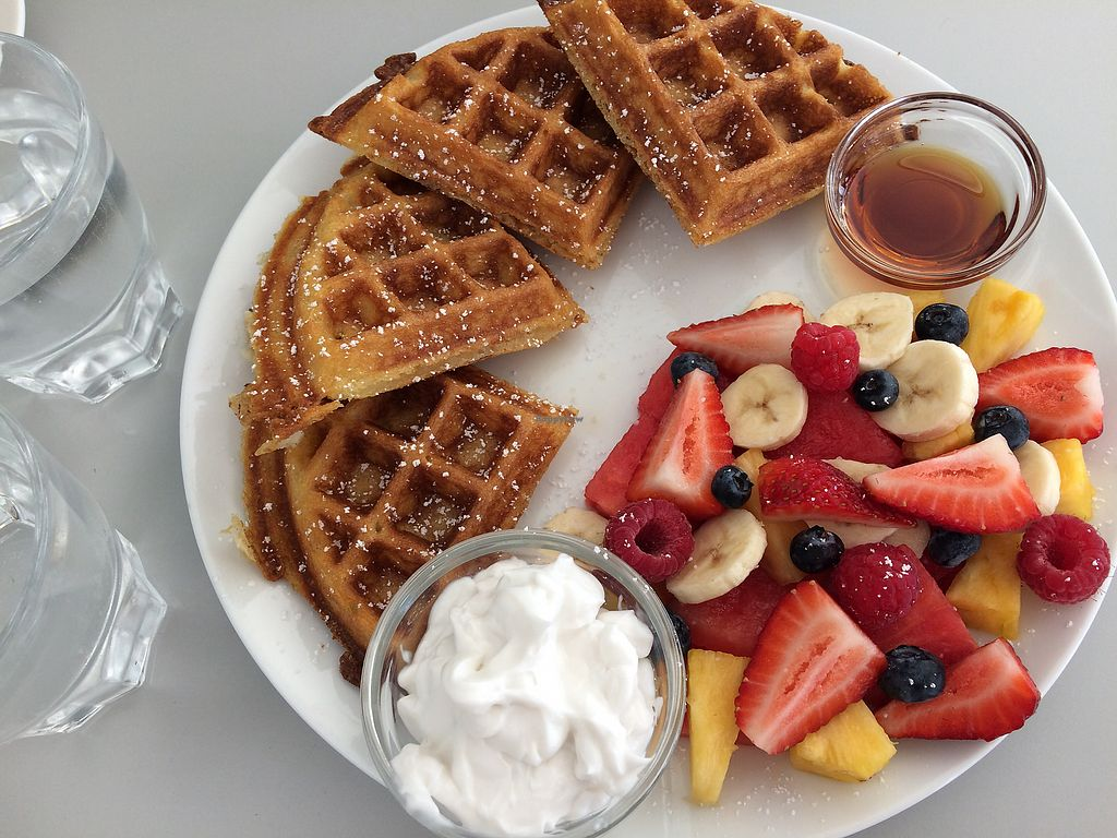 """Photo of Waffle on Cairns  by <a href=""""/members/profile/clairem"""">clairem</a> <br/>Freshly cut fruit salad, coconut yoghurt and vegan waffles <br/> November 11, 2017  - <a href='/contact/abuse/image/97907/324099'>Report</a>"""