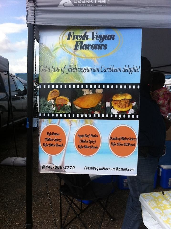 """Photo of Fresh Vegan Flavour  by <a href=""""/members/profile/VeganSylvie"""">VeganSylvie</a> <br/>Fresh Vegan Flavour sign at the Sylvan Lake Farmers Market <br/> August 5, 2017  - <a href='/contact/abuse/image/97908/288974'>Report</a>"""