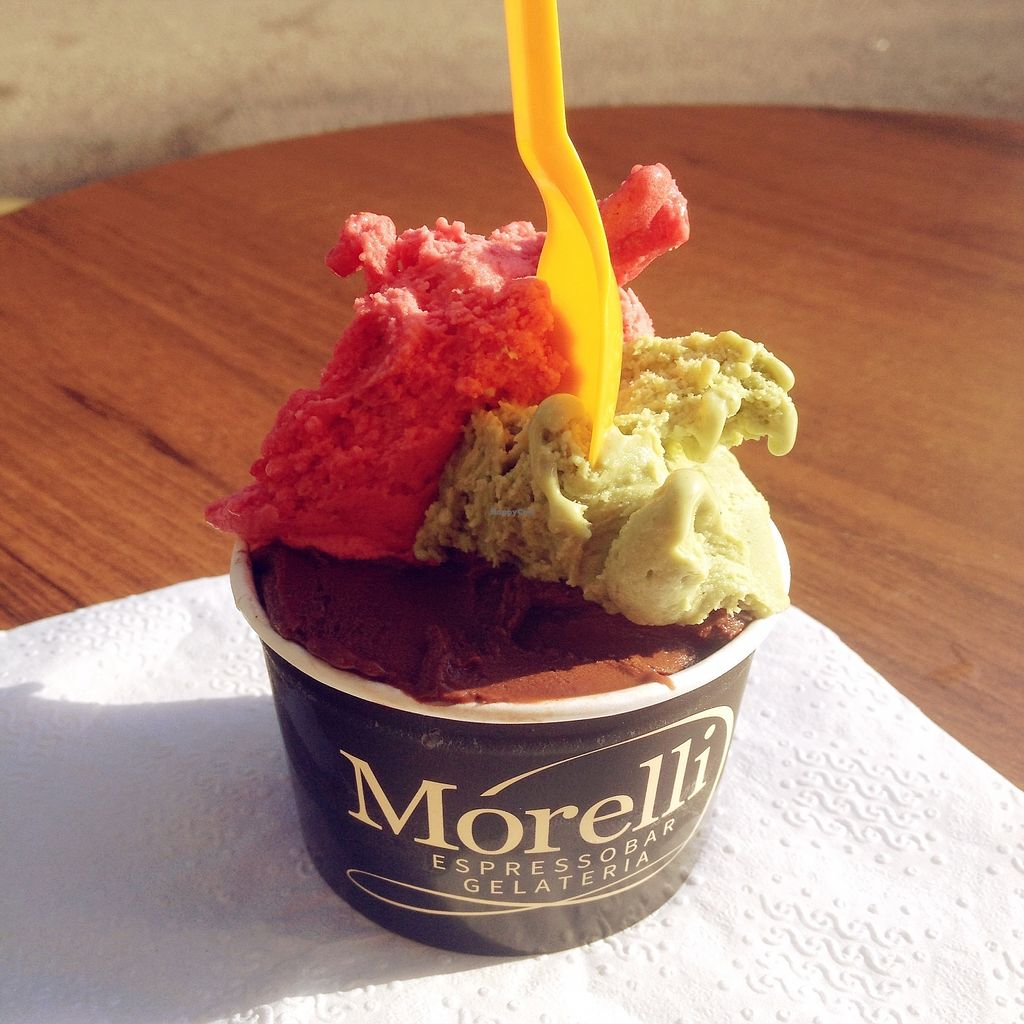 """Photo of Morelli Espressobar Gelateria  by <a href=""""/members/profile/treemelody"""">treemelody</a> <br/>More vegan gelato! <br/> October 11, 2017  - <a href='/contact/abuse/image/97922/314294'>Report</a>"""