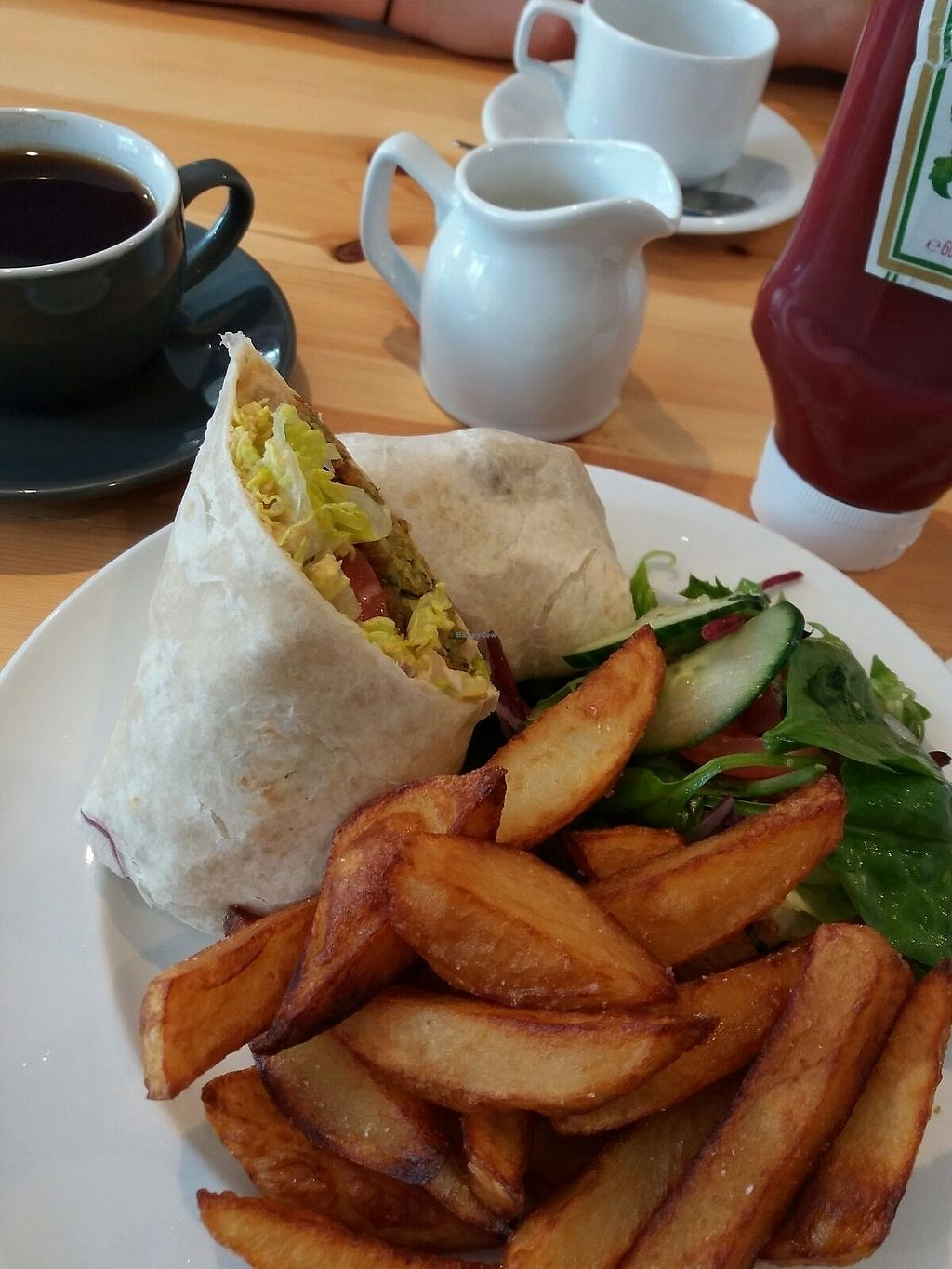 """Photo of The Willow Tree Cafe  by <a href=""""/members/profile/sgacton"""">sgacton</a> <br/>Falafel wrap with chunky chips <br/> August 15, 2017  - <a href='/contact/abuse/image/97937/293027'>Report</a>"""