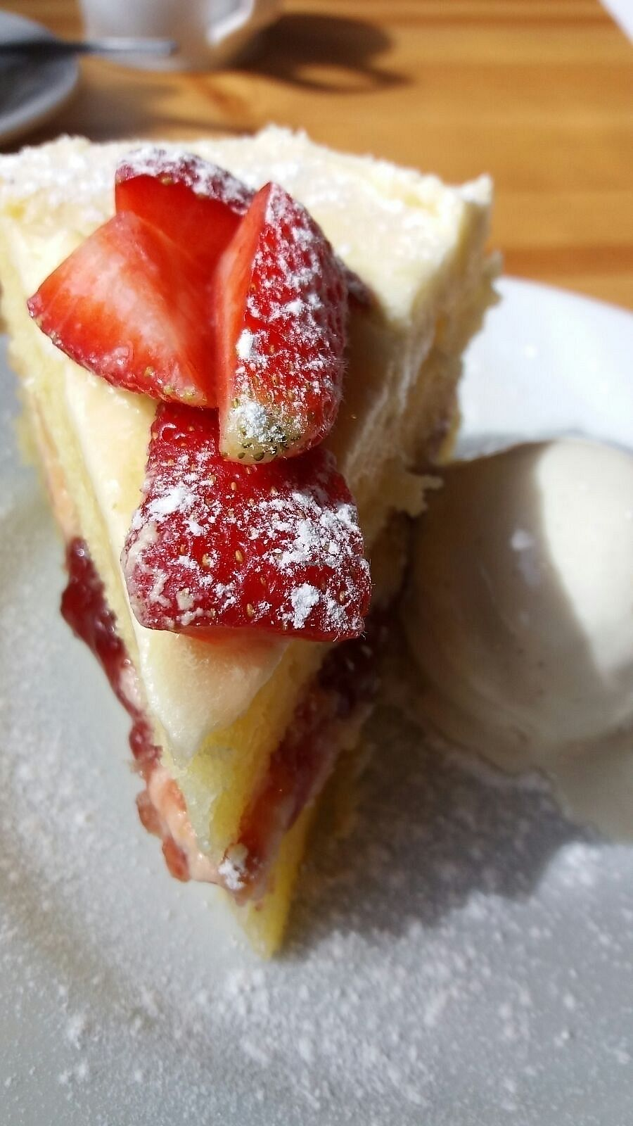 """Photo of The Willow Tree Cafe  by <a href=""""/members/profile/sgacton"""">sgacton</a> <br/>vegan victoria sponge with vanilla ice cream  <br/> August 20, 2017  - <a href='/contact/abuse/image/97937/294661'>Report</a>"""
