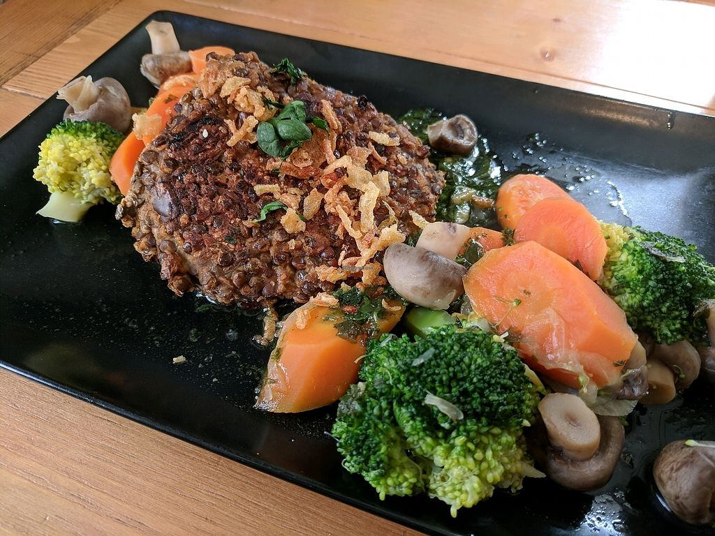 """Photo of La Cour des Anges  by <a href=""""/members/profile/Michl"""">Michl</a> <br/>Lentil galettes with steamed veggies <br/> March 31, 2018  - <a href='/contact/abuse/image/97997/378761'>Report</a>"""