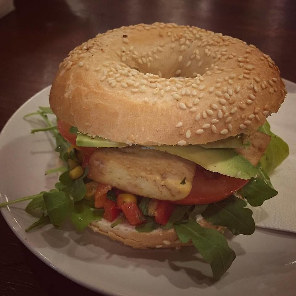 """Photo of Happy Monkey  by <a href=""""/members/profile/community5"""">community5</a> <br/>'Malibu special' - marinated tofu, homemade corn relish, arugula, tomatoes, veganaise and avocado <br/> August 7, 2017  - <a href='/contact/abuse/image/98008/290060'>Report</a>"""