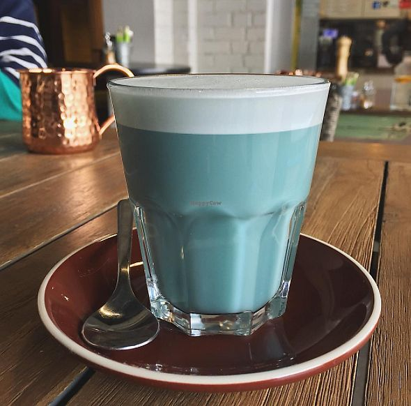 """Photo of Buddha Bowl Cafe  by <a href=""""/members/profile/veganbyeden"""">veganbyeden</a> <br/>Blue Algae Latte <br/> August 16, 2017  - <a href='/contact/abuse/image/98055/293088'>Report</a>"""