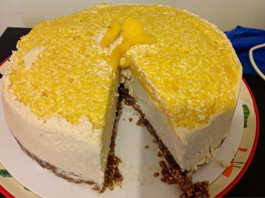 """Photo of Vegangela Rose Cakes  by <a href=""""/members/profile/AngelaFeane"""">AngelaFeane</a> <br/>Raw mango and coconut cheese cake <br/> March 20, 2018  - <a href='/contact/abuse/image/98113/373187'>Report</a>"""