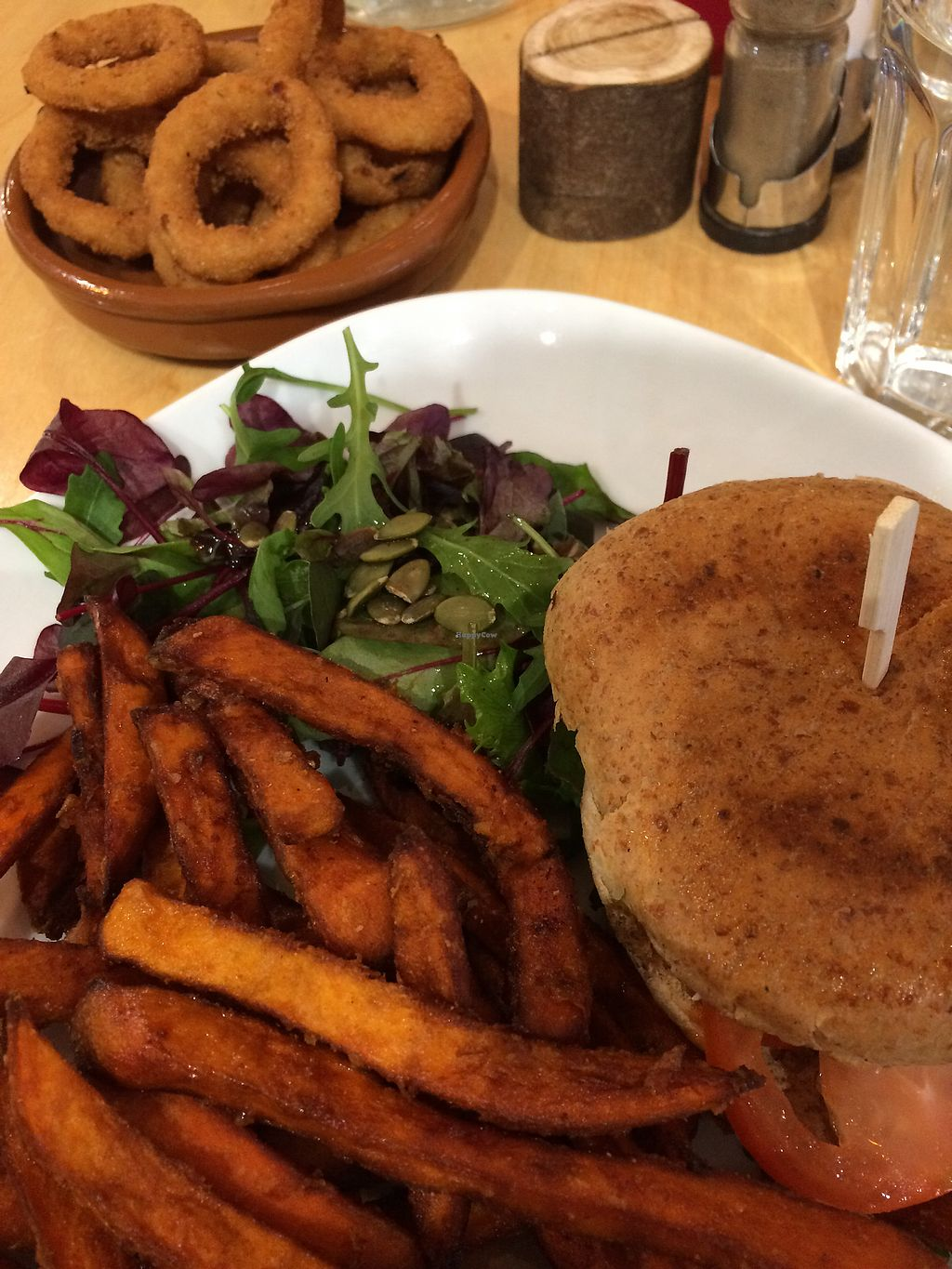 "Photo of Cafe Thrive  by <a href=""/members/profile/JMTurner"">JMTurner</a> <br/>Veggie burger (it was unreal) sweet potato fries, salad and onion rings <br/> November 18, 2017  - <a href='/contact/abuse/image/98116/326804'>Report</a>"