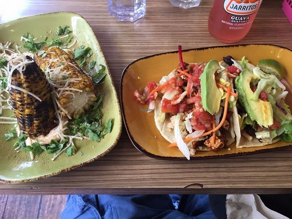 "Photo of Trippy Taco  by <a href=""/members/profile/GreatVeganExp"">GreatVeganExp</a> <br/>Tofu asada tacos, and grilled corn <br/> January 13, 2017  - <a href='/contact/abuse/image/9819/211666'>Report</a>"