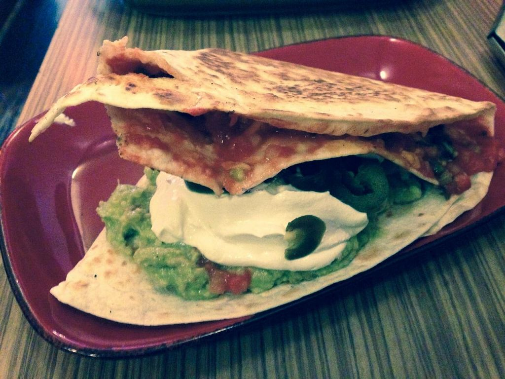 "Photo of Trippy Taco  by <a href=""/members/profile/Tiggy"">Tiggy</a> <br/>Vegan special quesadilla with vegan sour cream and jalapeños <br/> November 10, 2014  - <a href='/contact/abuse/image/9819/85153'>Report</a>"