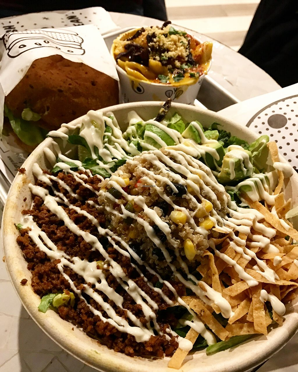 "Photo of By Chloe  by <a href=""/members/profile/bethanybee"">bethanybee</a> <br/>Quinoa taco salad with a guac burger and Mac and cheese <br/> January 29, 2018  - <a href='/contact/abuse/image/98200/352173'>Report</a>"
