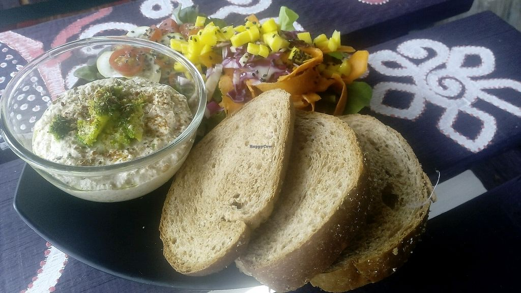 """Photo of Kaya Caffe  by <a href=""""/members/profile/FrancescaBonello"""">FrancescaBonello</a> <br/>Hummus served with salad and brown bread  <br/> September 12, 2017  - <a href='/contact/abuse/image/98208/303593'>Report</a>"""