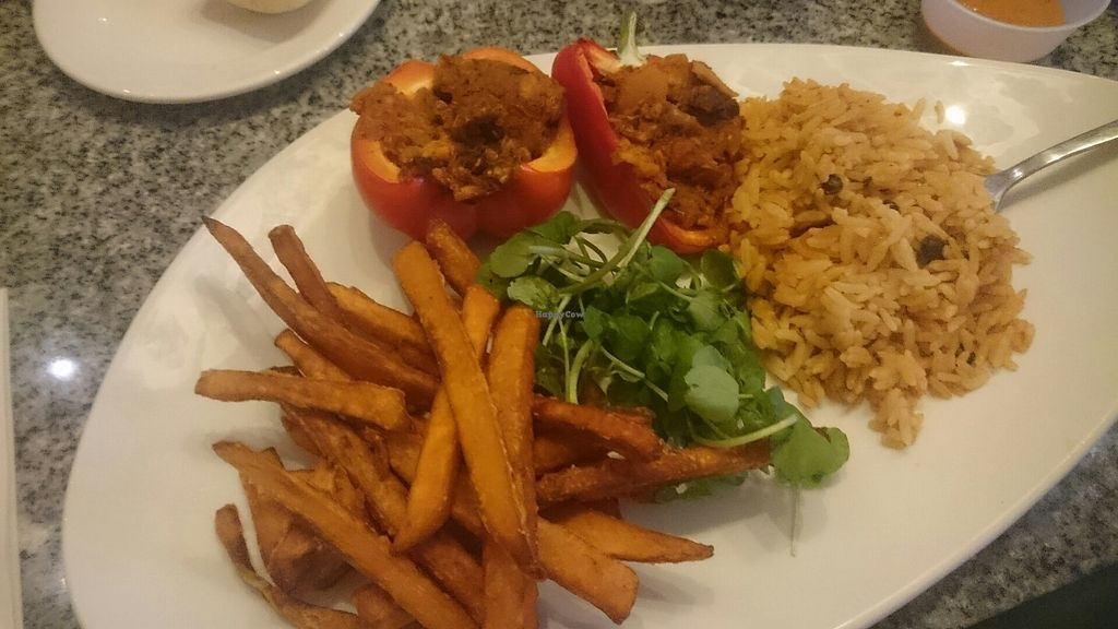 """Photo of Harvester  by <a href=""""/members/profile/hayleymarie852"""">hayleymarie852</a> <br/>Red Stuffed Pepper - Vegan <br/> August 14, 2017  - <a href='/contact/abuse/image/98249/292541'>Report</a>"""