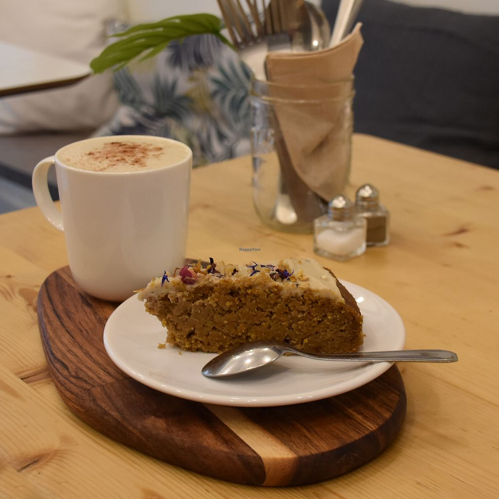 """Photo of Comptoir Veggie  by <a href=""""/members/profile/christinalherbivore"""">christinalherbivore</a> <br/>moist carrot cake + chai latte  <br/> October 27, 2017  - <a href='/contact/abuse/image/98252/319349'>Report</a>"""